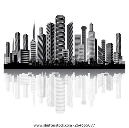 Skyscrapers  in the City on the River. Vector. - stock vector