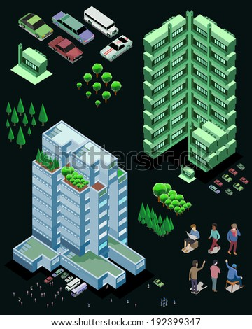 Skyscrapers. Vector isometric buildings. use for game element or map object - stock vector