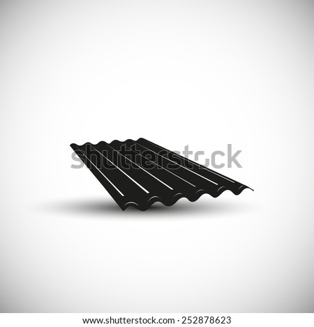 Slate wave roof illustration - 3d view design. - stock vector