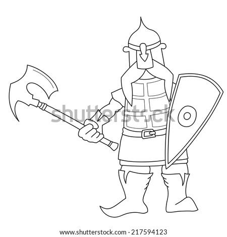 Slavic knight with an axe, sketch illustration. Cartoon world warriors series. - stock vector
