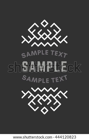 Slavic or Viking Style Oldfashioned Art Decorative Geometric Vector Frames and Borders. Black and white. Vector Ornaments, Vector Decoration, Line Ornament, Vector Logos, Vector Labels - stock vector
