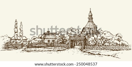 Slavic rustic scenery: clay hut with thatched roof, wooden chapel of stone wall, poplar. Freehand drawn sketch background in style antiquity ink pen on paper. Panoramic view with space for text on sky - stock vector