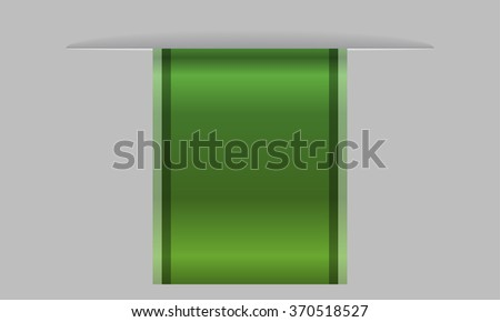 Sleek green web ribbon or bookmark hanging down. Vector Illustration - stock vector