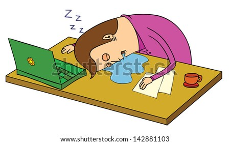 sleep over at office - stock vector