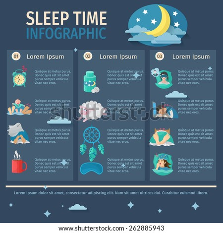 Sleep time infographic set with comfortable night dreaming vector illustration - stock vector