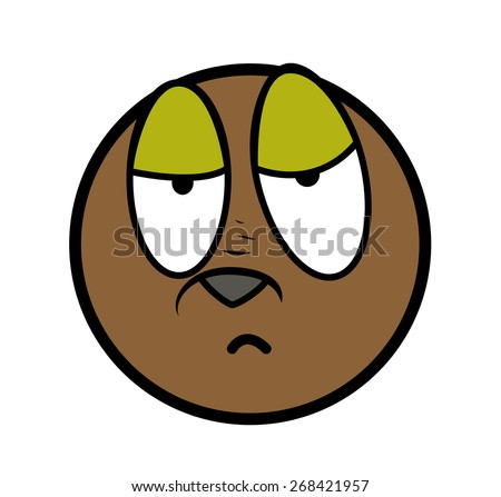 Sleepily Cartoon Face Expression - stock vector