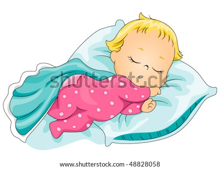 Sleeping Baby - Vector - stock vector