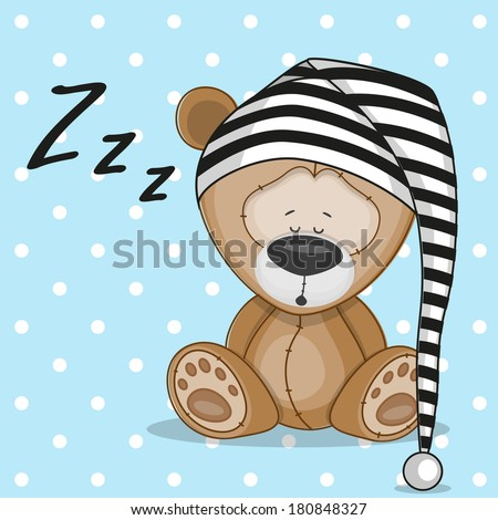 Sleeping bear in a cap - stock vector