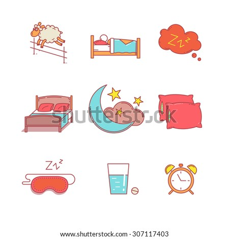 Sleeping, bedtime rest and bed thin line icons set. Modern flat style symbols isolated on white for infographics or web use. - stock vector