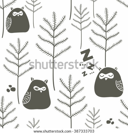 Sleeping birds in winter forest. Seamless pattern with funny little owls on the snow. Vector background. - stock vector
