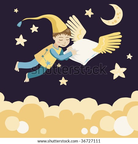 Sleeping Boy with Flying Pillow - stock vector