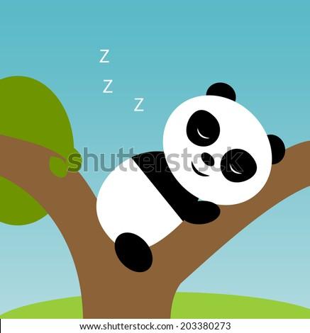 Sleeping cartoon panda baby, vector illustration - stock vector