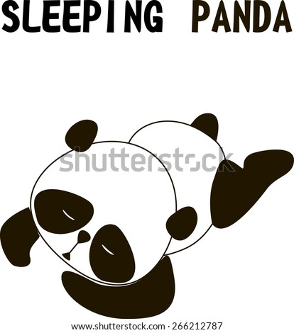 sleeping cute little panda bear isolated on a white background, vector illustration - stock vector