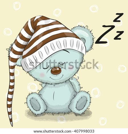 Sleeping cute Teddy Bear in a hood on a white background - stock vector