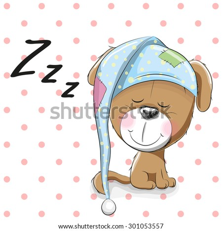 Sleeping Dog in a cap on a dots background - stock vector