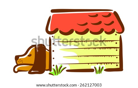 Sleeping dog in the booth (kennel) - stock vector