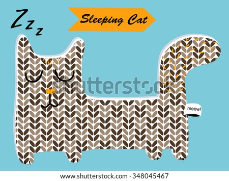 Sleeping knitted cat for design children's website, books, goods, postcards, toys, appliques, clothes, shirts, pillow, decoration. Cute funny cartoon character animal. Childish vector illustration - stock vector
