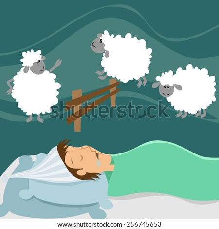 Sleeping man counting sheep - stock vector