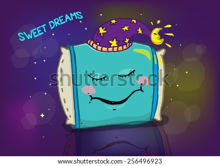 Sleeping Pillow with Wizard Hat on a Blur Bokeh Background. Editable Vector. - stock vector