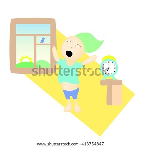 Sleepy boy waking up, morning time sunrise vector illustration, yawning boy in the morning, early bird waking up, morning stretching, pajama boy, hand-drawn child waking up, children's regime picture - stock vector