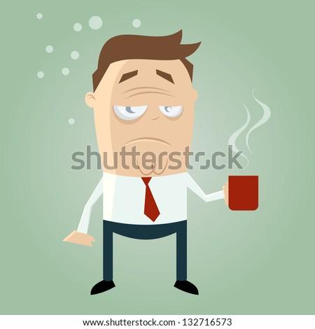 sleepy guy with cup of coffee - stock vector