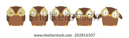 sleepy owl - stock vector