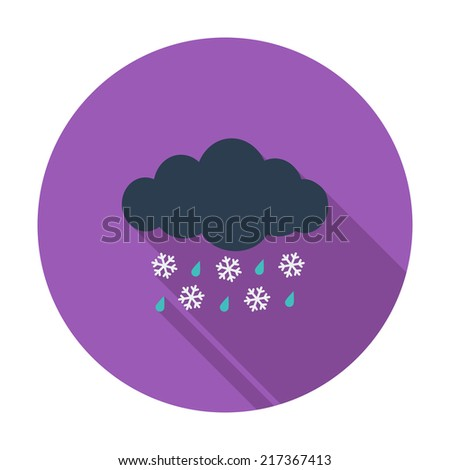 Sleet. Single flat color icon. Vector illustration. - stock vector