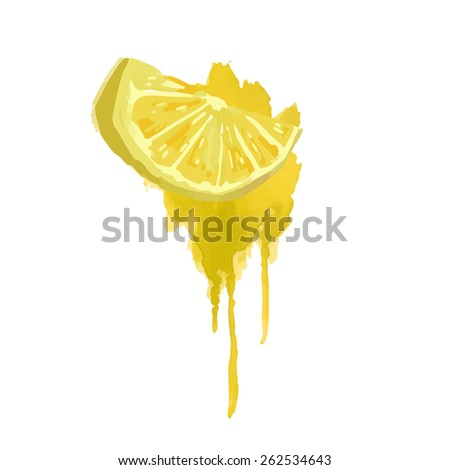 Slice of lemon in a watercolor style with yellow watercolor splashes. Juicy, bright slice. Vector. - stock vector