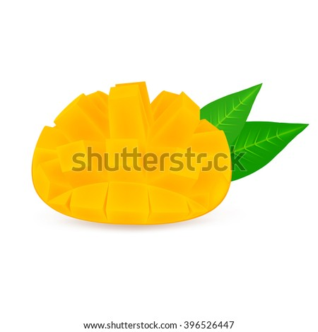 Slice of mango fruit with leaf isolated on white background. Realistic vector illustration. - stock vector
