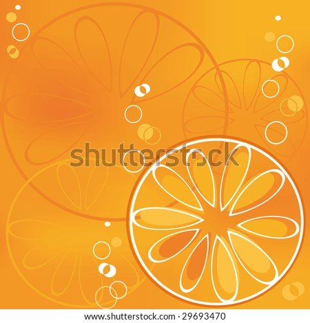 slice of orange in bubbly drink - stock vector