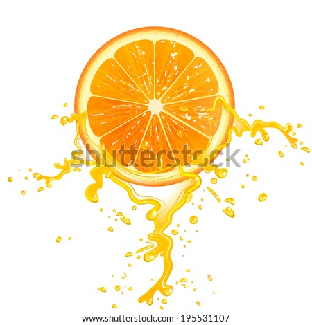 slice of orange juice with splashes - stock vector