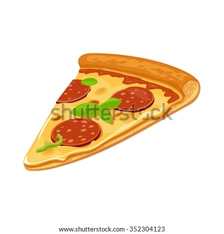 Slice of pizza pepperoni. Isolated vector flat illustration for poster, menus, logotype, brochure, web and icon. White background. - stock vector