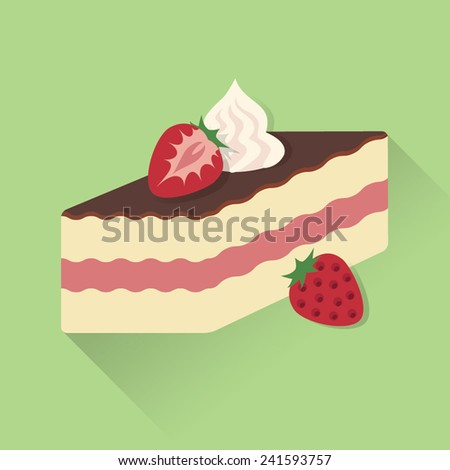 Slice of strawberry cake with whipped cream vector - stock vector