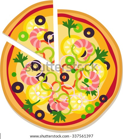 Sliced delicious pizza with shrimp. Tasty pizza with seafood. - stock vector