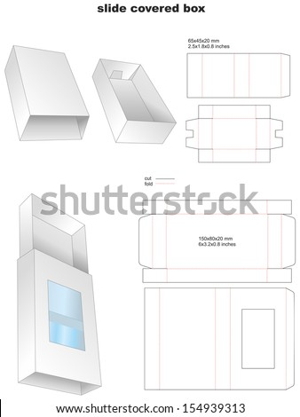 slide covered box - stock vector