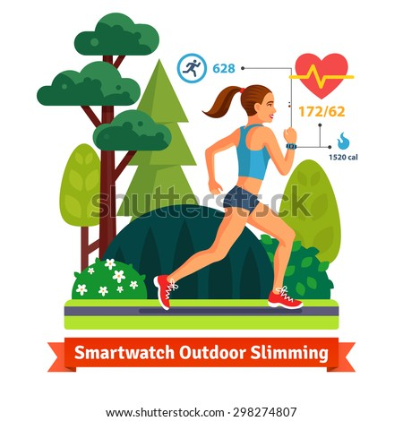Slimming woman running in the park and burning calories. Monitoring her hurt rate, and steps with smart watch. Flat vector illustration isolated on white background. - stock vector