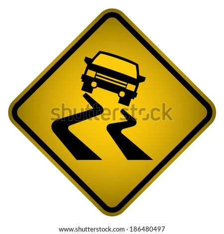 Slippery Road Sign- Vector - stock vector