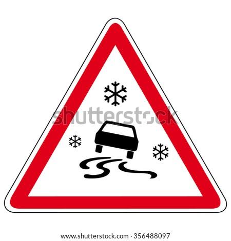 slippery road - vector sign - stock vector