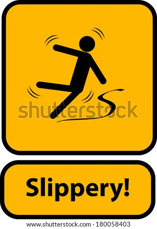 Slippery warning yellow sign vector - stock vector