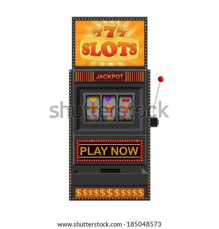Slot machine, gamble machine isolated on a white background - stock vector