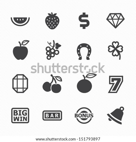 Slot Machine Icons with White Background - stock vector