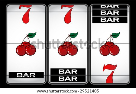 slot machine illustration - stock vector