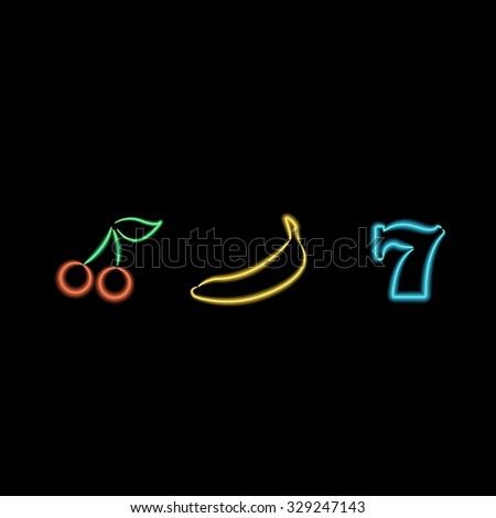 Slot Machine Neon Symbols. Vector illustration - stock vector