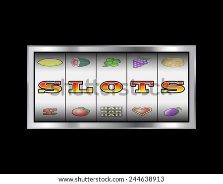 Slot machine reels slots in letters vector sign  - stock vector