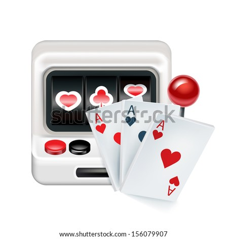 slot machine with playing cards isolated on white background - stock vector