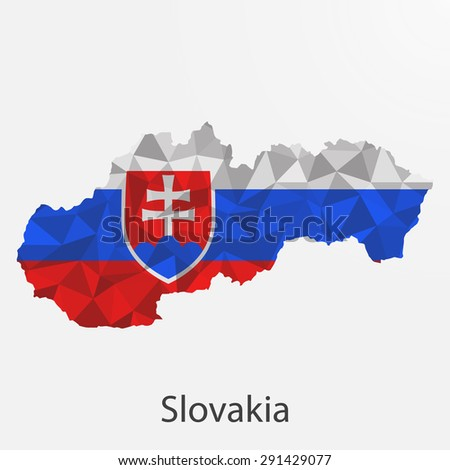 Slovakia flag map in geometric,mosaic polygonal style.Abstract tessellation,background. Vector illustration EPS10 - stock vector