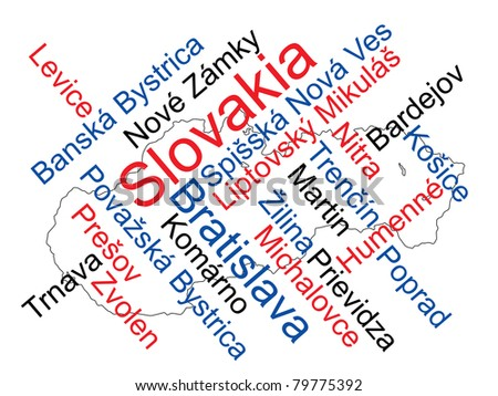 Slovakia map and words cloud with larger cities - stock vector