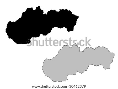 Slovakia map. Black and white. Mercator projection. - stock vector