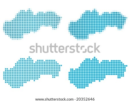 Slovakia map mosaic set. Isolated on white background. - stock vector