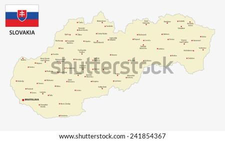 slovakia map with flag - stock vector